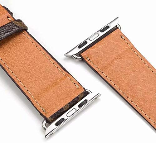 Monogram Brown Compatible Apple Watch Straps, Luxury Fashion PU Leather Classic Wrist Bands for Women and Men, Replacement for Apple Watch Series 5 4 3 2 1 Fit for (38/40mm)