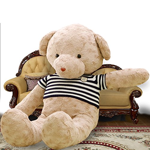 YXCSELL Very Light Brown Teddy Bear with Blue & White Striped T-shirt 63 Inches
