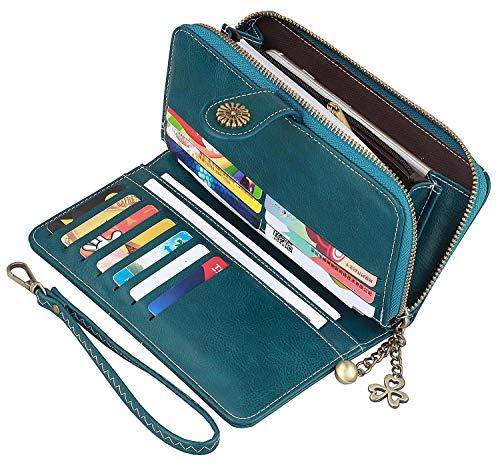 Women Wallet Leather Bifold Wristlet Clutch Ladies Purse Card Holder Organizer (Navy - Compact Clutch Wallet