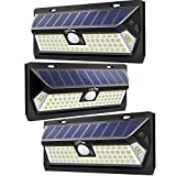 : LITOM Outdoor 62 LED Adjustable Time Motion Sensor 270° Wide Angle and Waterproof Design Wireless Solar Lighting for Front Door, Yard, Garage, Deck (3 Pack)