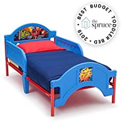 Your child will race to sleep with the Blaze and the Monster Machines Plastic Toddler Bed by Delta Children in their bedroom. Featuring colorful artwork of Axle City's greatest hero, Blaze, this sturdy toddler bed has two attached guardrails ...