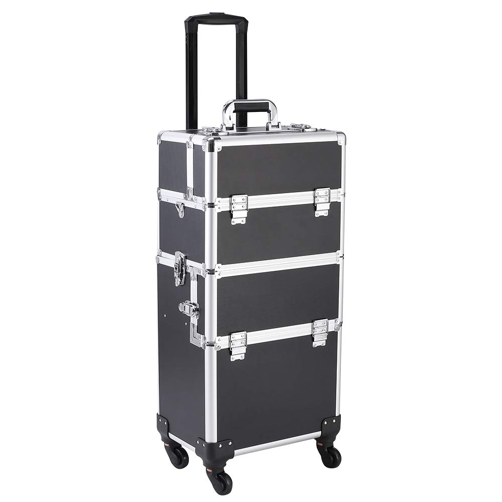 OrangeFish 3 in 1 Travel Makeup Cosmetic Train Case with 4 Removable Wheels Dresser Makeup Case Rolling Organizer Box with Dividers (BLACK)