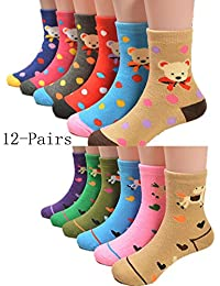 Unisex Baby Warm Winter Socks Cute Cartoon Socks for Toddlers and Kids(12-Pairs)