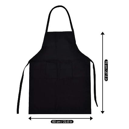 luthmor Delantal de Cocina Negro con Tira de Cuello Ajustable para Hornear jardinería Restaurante Barbacoa para
