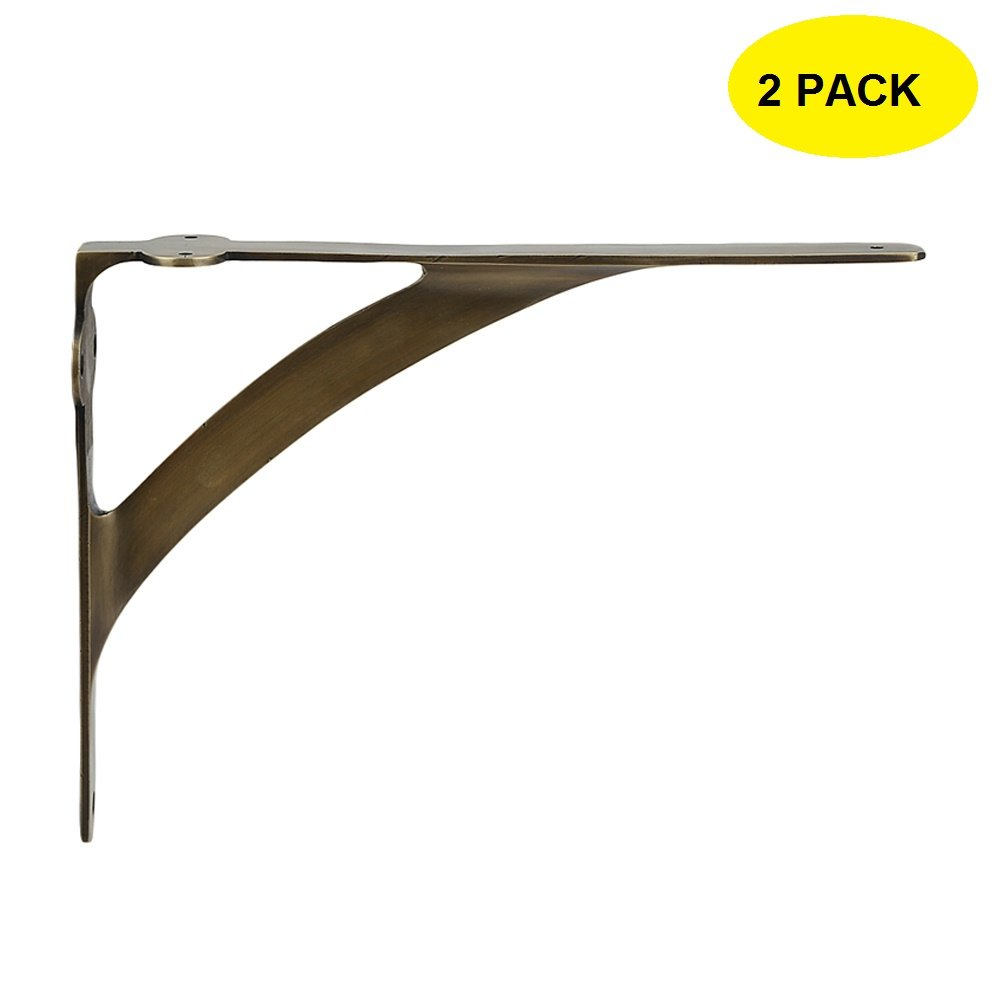 Set of 2 Classic 7 3/8 Inches Brass Shelf Brackets with Antique Brass Finish Heavy Duty Adjustable Support Brackets Easy Installation Hardware
