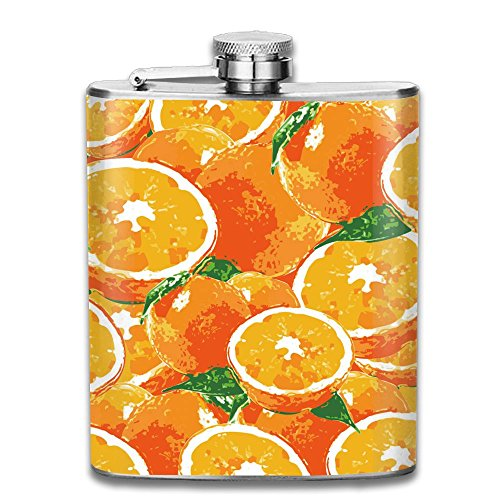 LINGLIII Strawberries Fall In Love With Oranges Cool Stainless Steel Flask Hip Flask