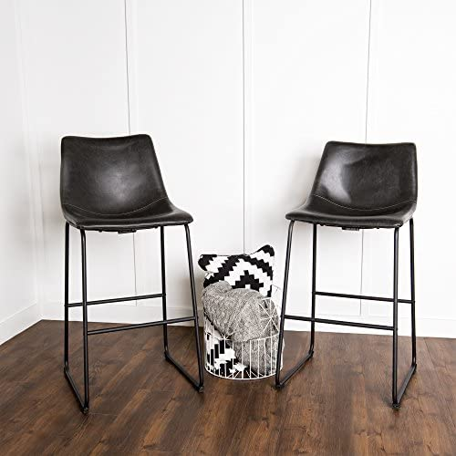 New Set of 2 Black Faux Leather Barstools with 28 Inch Seat Height