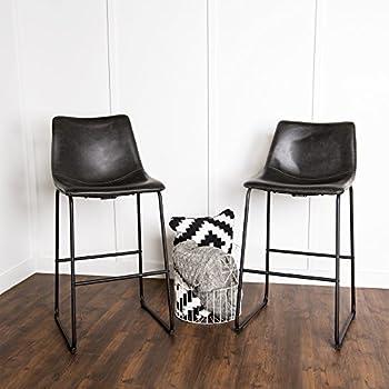 WE Furniture Black Faux Leather Barstool, Set of 2