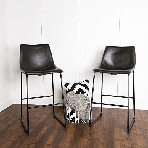 (WE Furniture Black Faux Leather Barstool, Set of 2)
