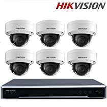 Hikvision Video Surveillance Security System DS-7608NI-K2/8P 2SATA 8 POE ports 4K 8ch NVR + DS-2CD2155FWD-IS 5MP Dome IP Camera H.265 Support Audio/Alarm + Seagate 2TB HDD (8 Channel + 6 Camera)