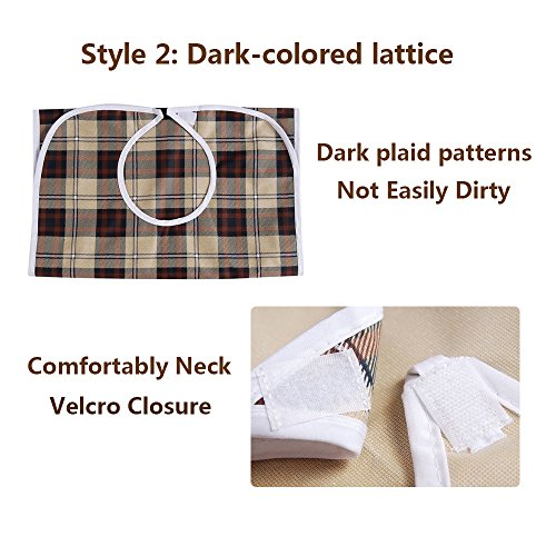 Adult Bibs Special Needs Patient Mealtime Eating Cloth Clothing Protectors Reusable Waterproof Large Long Feeding Bibs for Seniors (2 pcs - Lattice) by NEPPT (Image #8)
