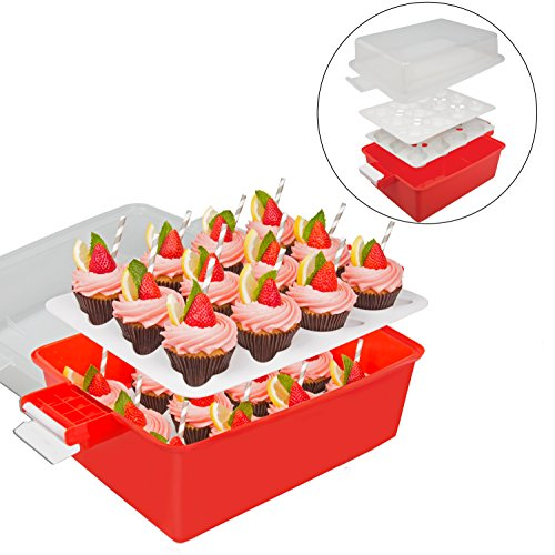 Cupcake Carrier - Holds 24 Large Cupcakes or Muffins - 2 Layer, Easy to Transport, Snap-on-Lid Baked Goods Caddy Container]()