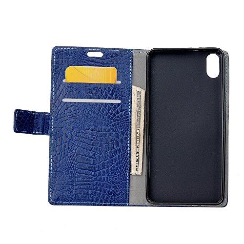JIALUN-carcasa de telefono Funda protectora de cuero de la PU Caso del soporte del tirón con la función de la carpeta para el iPhone 8 ( Color : Black ) Blue