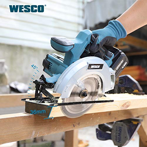WESCO 20V 4.0Ah Battery Circular Saw, 6-1/2