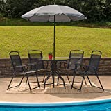 Flash Furniture Nantucket 6 Piece Patio Garden Set with Table, Tan Umbrella and 4 Folding Chairs