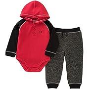 Calvin Klein Baby Boys' 2 Pieces Bodysuit Pant Set, Red/Black, 0-3 Months