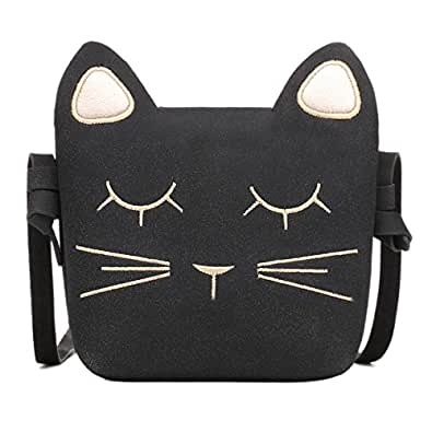 CMK Trendy Kids Cute Cat Toddler Purse for Little Girls, Kids Crossbody and Shoulder Bag Ages 3-10 (AU82010-BL)