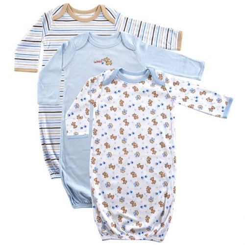 Luvable Friends 3-Pack Rib Knit Infant Gowns, Blue, 0-6 months