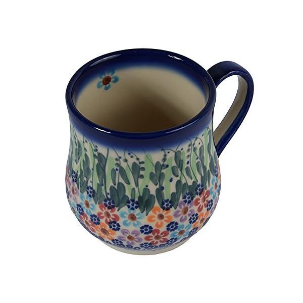 Traditional Polish Pottery, Handcrafted Ceramic Drop-shaped Mug (350 ml /12.3 fl oz), Boleslawiec Style Pattern, Q.102.DAISY