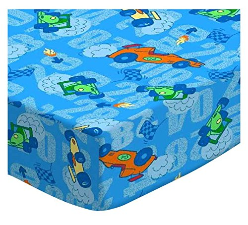 SheetWorld Fitted Portable/Mini Crib Sheet - Race Cars Blue - Made In USA by SHEETWORLD.COM