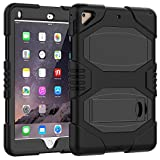 iPad 5th/6th Generation Case, iPad 9.7 2018/2017 Case, Angelan Heavy Duty Three Layer Ultra Hybrid Silicone+Hard PC Bumper Full-body Protective Case Cover With Kickstand For New iPad 9.7 Inch,Black