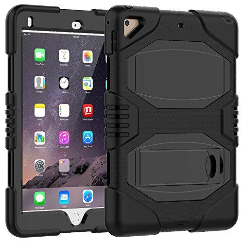 iPad-97-CaseiPad-2017-CaseiPad-5th-Generation-CaseSlim-Heavy-Duty-Shockproof-Rugged-Case-Hard-PCSilicone-Hybrid-High-Impact-Full-Body-Protective-Case-for-iPad-97-A1822A1823Black