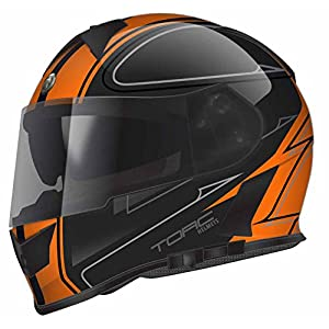 Torc T14B Blinc Loaded Stryker Mako Full Face Helmet (Flat Orange with Graphic, Large)