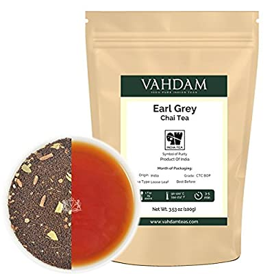 Earl Grey Masala Chai (50 Cups), Loose Leaf Tea Delicious Blend of Black Tea with Natural Bergamot Extracts & Fresh Exotic Spices like Cardamom, Cinnamon, Cloves & Black Pepper, 3.53oz by Vahdam Teas