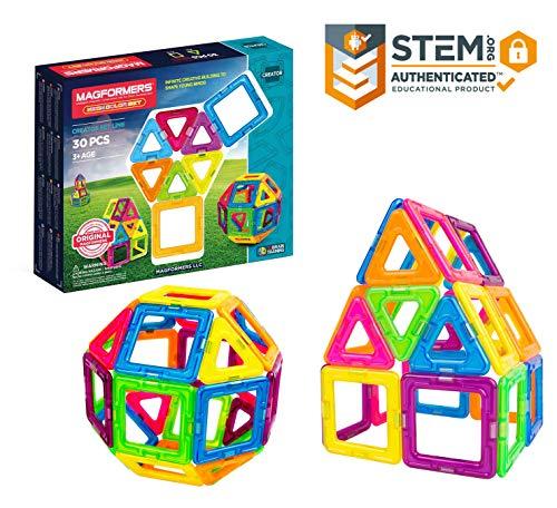Magformers Neon 30 Pieces Rainbow neon Colors, Educational Magnetic Geometric Shapes Tiles Building STEM Toy Set Ages 3+