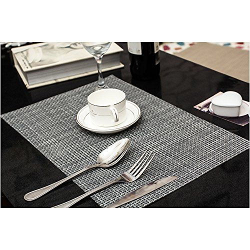 Amazon.com: PVC Weave Placemats ,Zupro Dining Table Mat Anti Slip,Heat  Insulation PlaceMat,Set Of 4, Six Color Available: Home U0026 Kitchen