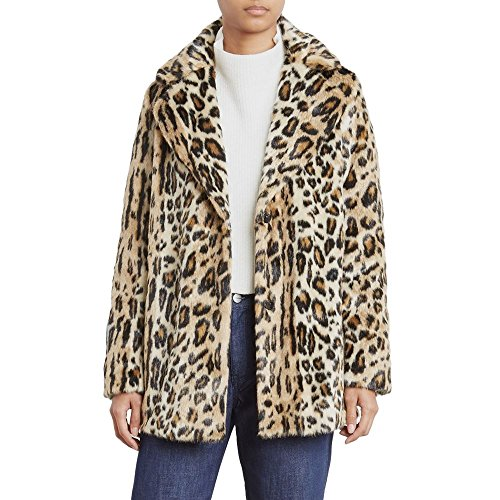 Kenneth Cole Women's Animal Faux Fur Coat, Natural Leopard, ()