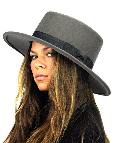 (NYFASHION101 Wool Wide Brim Porkpie Fedora Hat w/Simple Band Accent - Gray)