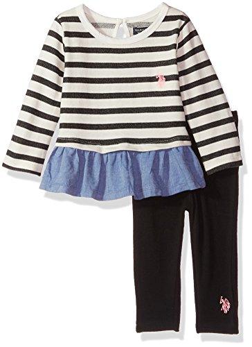 U.S. Polo Assn. Baby Girls Fashion Top and Legging Set