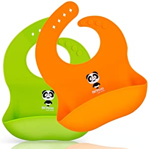 Silicone Baby Bibs Waterproof Adjustable Baby Bib with Food Catcher Pocket for Girls Set of 2 Colors Easily Wipe Clean (Panda-Orange/Green)