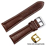 deBeer brand Sport Leather Watch Band (Silver & Gold Buckle) - Brown 22mm (Short Length)