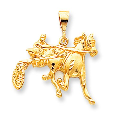 10K Yellow Gold Sulky Horse Racing Charm Race Jewelry ()