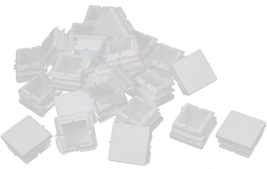 uxcell 25mm x 25mm Furniture Legs Protecter Tubing Square Tube Pipe Inserts Caps White 24 Pcs