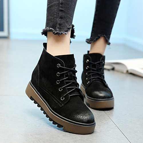 KHSKX-Korean Korean Winter Boots Leather Boots Thick Soles Increased Matte Martin Shoes Thirty-seven 2RECkIWD