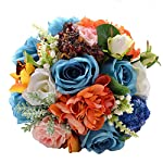 Abbie-Home-Real-Touch-Flowers-Bouquets-Rose-Bridal-Ribbon-Crystal-Decor-Wedding-Bouquet