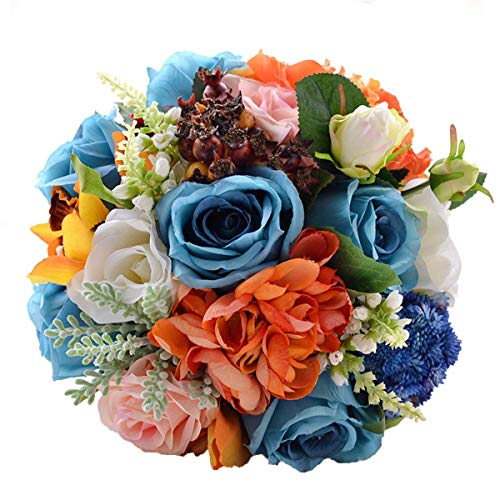 Abbie Home Wedding Bride Bouquet Blue White Rose Real Touch Orange Dahlia Silk Flowers with Berry Leaf Decoration -