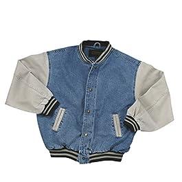 Cotton-Washed Vintage Denim Varsity Jacket with Khaki Sleeves