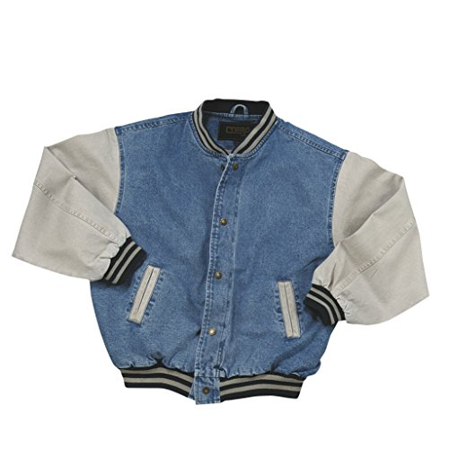 Cotton-Washed Vintage Denim Varsity Jacket with Khaki Sleeves (X Large)