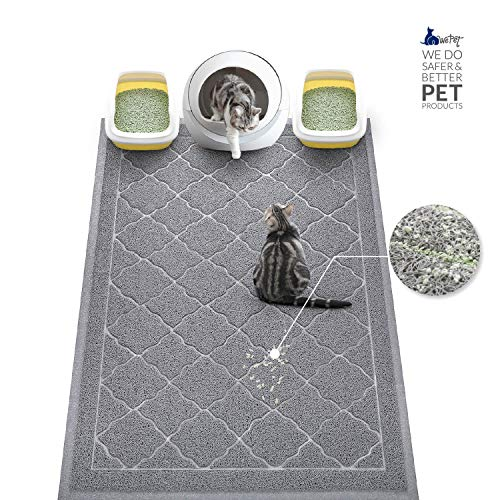 WePet Cat Litter Mat, Kitty Litter Trapping Mat, Large Size, Premium Durable Soft PVC Rug, No Phthalate, Urine Waterproof, Easy Clean, Washable, Scatter Control, Litter Box Carpet, 47 x 36 Inch Grey