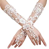 Emoyi Lady Women Formal Banquet Party Bride Pierced Lace Wedding Gloves Gift