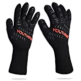 YOUTHINK BBQ Cooking Gloves, 1472°F Extreme Heat Resistant Grilling Glove for Extra Forearm Protection BBQ Kitchen Oven Mitts, 1 Pair
