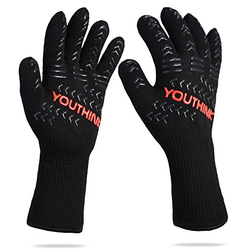 Cheap  YOUTHINK BBQ Cooking Gloves, 1472°F Extreme Heat Resistant Grilling Glove for Extra..