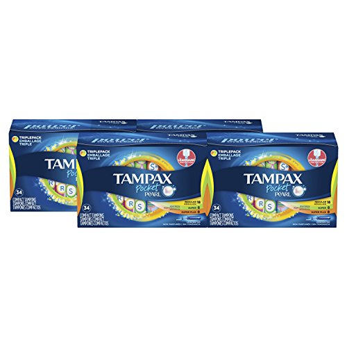 Tampax Pocket Pearl Plastic Tampons Regular/Super/Super Plus Multipack, Unscented, 34 Count, 4 Boxes, (Total 136 Count) by Tampax