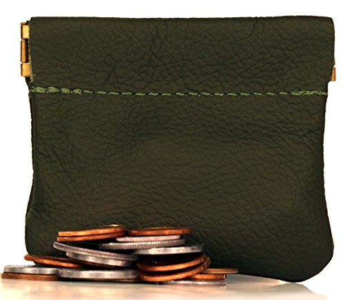 Classic Leather Squeeze Coin Purse change Holder For Men, Pouch size 3.5 in X 3.25 in. high By Nabob ()