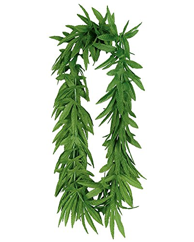 Novelty Tropical Green Pot Marijuana Leaf Fern Lei -