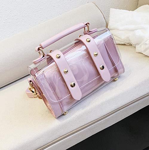 colore Diagonale Femminile A Size Sacchetto Cosmetico Trasparente Tracolla Della Del Immagazzinaggio Jbhurf Di Dimensioni Nero Borsa One Pink pqAOz4w